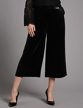 Velvet Cropped Wide Leg Trousers