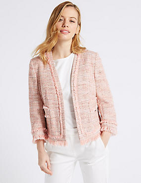 PETITE Cotton Blend Textured Blazer , PINK, catlanding