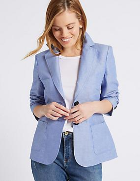 PETITE Linen Rich Single Breasted Blazer , BLUE, catlanding