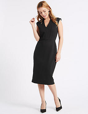 PETITE Ponte Bodycon Midi Dress