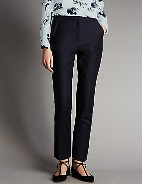 Cotton Rich Grosgrain Tapered Leg Trousers