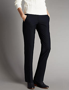 Jet Pocket Seam Tapered Leg Trousers with Wool