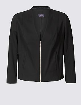 CURVE Zipped Front Blazer, BLACK, catlanding