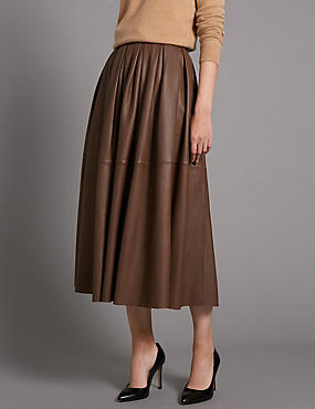 Tailored Fit Leather Full Pleated Skirt