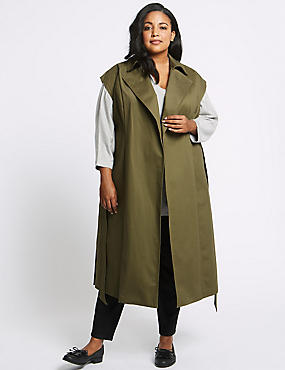 CURVE Cotton Rich Longline Trench Coat, KHAKI, catlanding