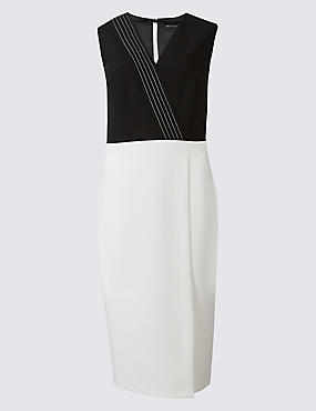 Contrast Stitch Wrap Shift Midi Dress
