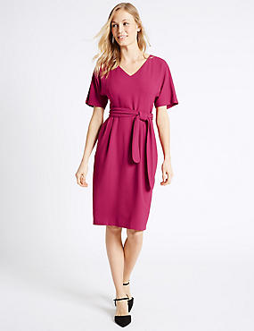 Kimono Tie Short Sleeve Shift Dress