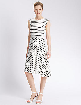 Striped Asymmetrical Midi Dress