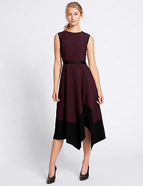 Colour Block Asymmetric Midi Dress