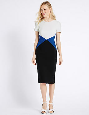 Colour Block Tailored Fit Shift Dress
