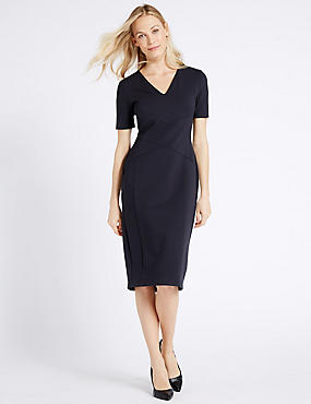 Cross Front Shift Midi Dress