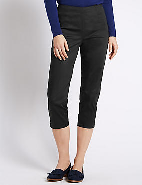 Cotton Rich Side Zip Cropped Trousers