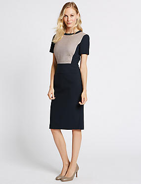 Colour Block Shift Midi Dress