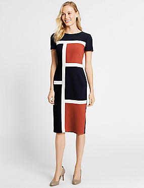 Colour Block Short Sleeve Shift Midi Dress