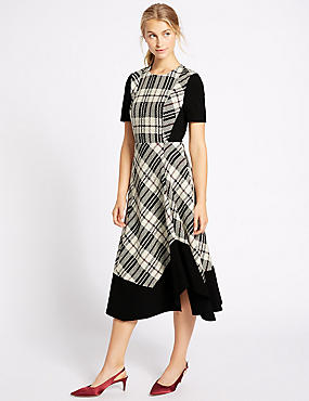 Cotton Blend Checked Midi Dress