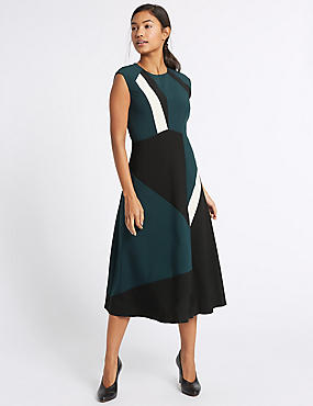 Colour Block Skater Midi Dress