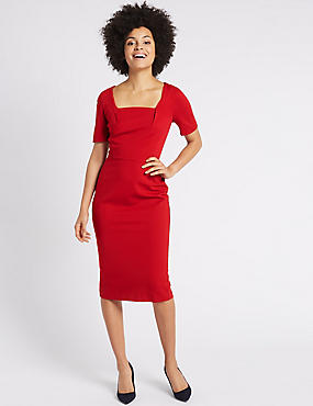 Ponte Short Sleeve Shift Midi Dress