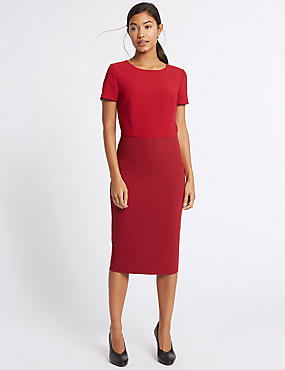 Colour Block Short Sleeve Bodycon Midi Dress