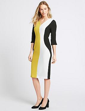 Colour Block 3/4 Sleeve Bodycon Dress, OCHRE, catlanding