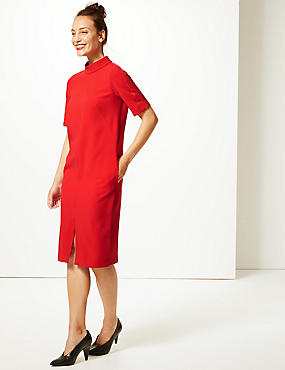 Heavy Crepe Half Sleeve Shift Dress , RED, catlanding