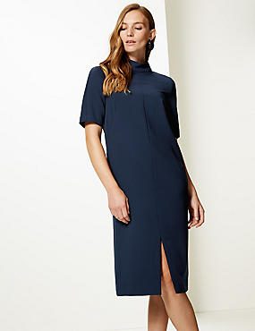 Heavy Crepe Half Sleeve Shift Dress , NAVY, catlanding