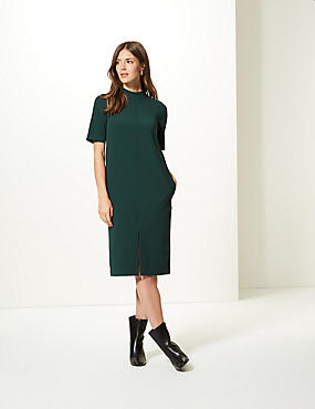 Heavy Crepe Half Sleeve Shift Dress , PINE GREEN, catlanding
