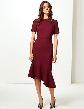 Short Sleeve Fishtail Bodycon Dress , DARK CLARET, catlanding