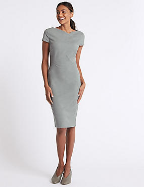 Pleated Front Bodycon Midi Dress