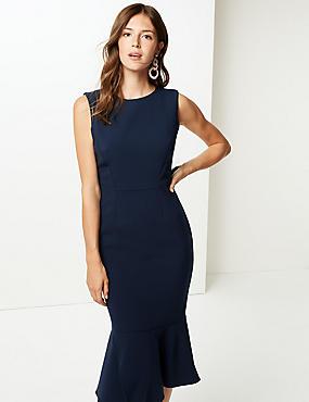 Peplum Hem Midi Dress , NAVY, catlanding