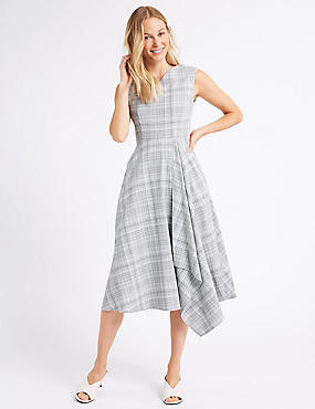 Cotton Rich Checked Cap Sleeve Skater Dress , SILVER GREY, catlanding