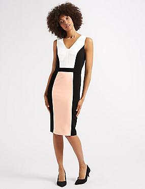 Colour Block Midi Pencil Dress , BLACK, catlanding
