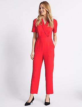 Pique Short Sleeve Jumpsuit, PINK, catlanding