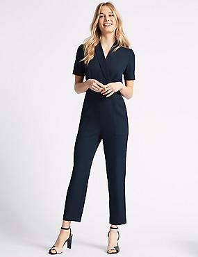 Pique Short Sleeve Jumpsuit, NAVY, catlanding