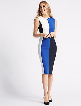 Colour Block Bodycon Dress , NAVY MIX, catlanding
