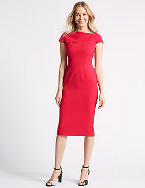 Crepe Cap Sleeve Bodycon Dress