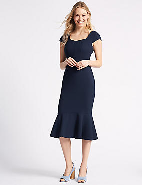 Crepe Fish Tail Bodycon Midi Dress , NAVY, catlanding