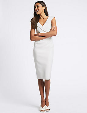 Short Sleeve Bandeau Dress, IVORY, catlanding
