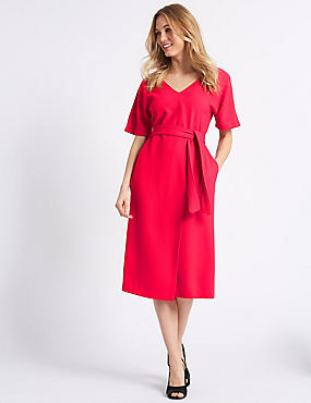 Half Sleeve Tie Waist Wrap Dress, PINK, catlanding