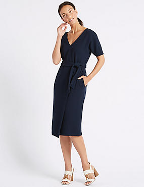 Half Sleeve Tie Waist Wrap Dress, NAVY, catlanding
