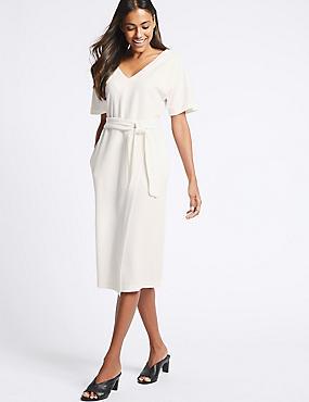 Half Sleeve Tie Waist Wrap Dress, IVORY, catlanding