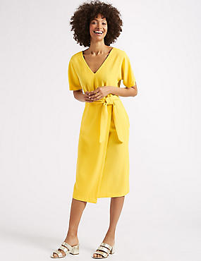 Half Sleeve Tie Waist Wrap Dress, YELLOW, catlanding