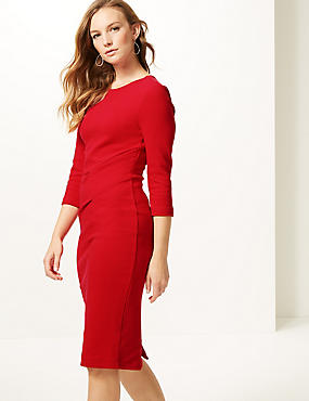 Cotton Rich Twisted Front Bodycon Dress , RED, catlanding