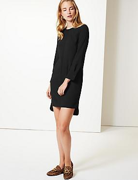 Long Sleeve Shift Mini Dress, BLACK, catlanding