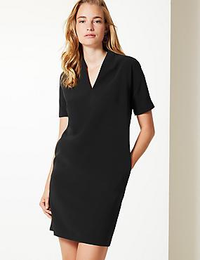 V Neck Tunic Shift Dress, BLACK, catlanding