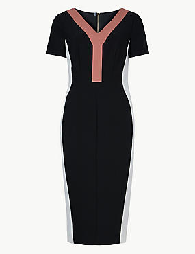 Colour Block Short Sleeve Bodycon Dress, BLACK MIX, catlanding