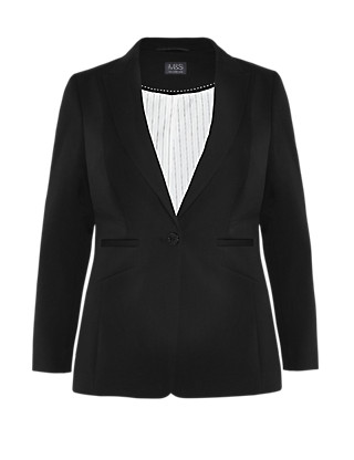 PLUS Angled Seam 1 Button Blazer Clothing