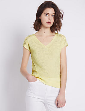 Pointelle V-Neck Knitted Top