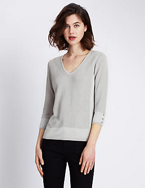 3/4 Sleeve V-Neck Jumper