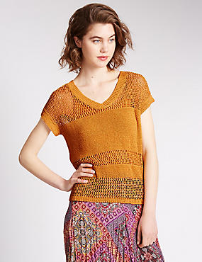 Loose Fit Crochet V-Neck Jumper