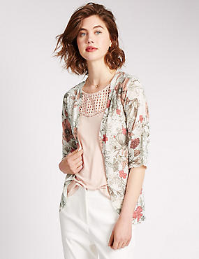 Floral Pointelle Cardigan with Linen